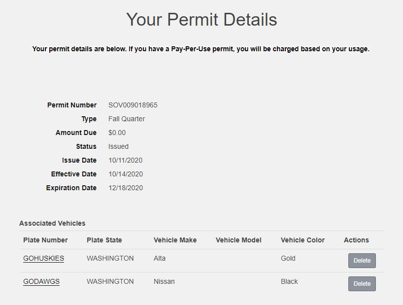 screenshot of individual permit details and vehicles associated with permit. Delete button next to each vehicle listed
