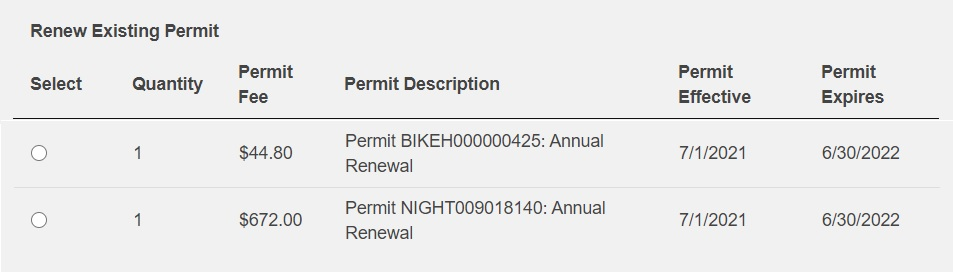 screenshot of Transportation Services products available for renewal on online customer portal
