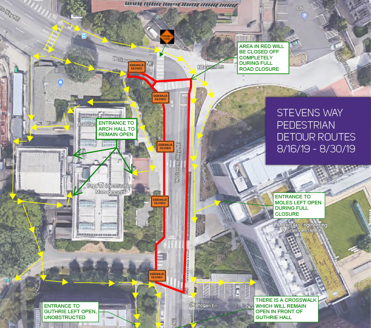 map of stevens way closure near population health showing pedestrian detour
