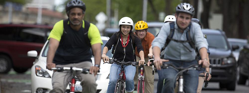 bicyclists biking with traffic
