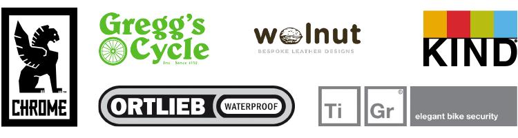 ride in the rain sponsors - ortlieb, gregg's cycles, walnut bespoke leather designs, tigr elegant bike security, chrome