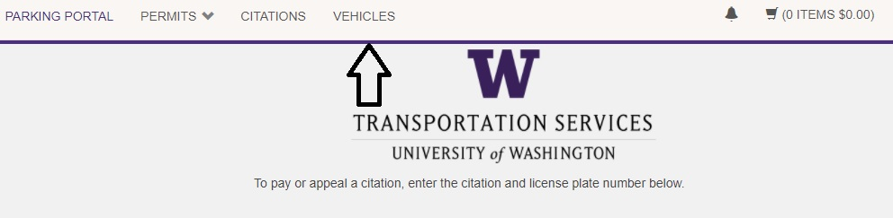 screenshot of Vehicles tab in upper navigation of Transportation Services online customer portal highlighted with arrow pointing to it
