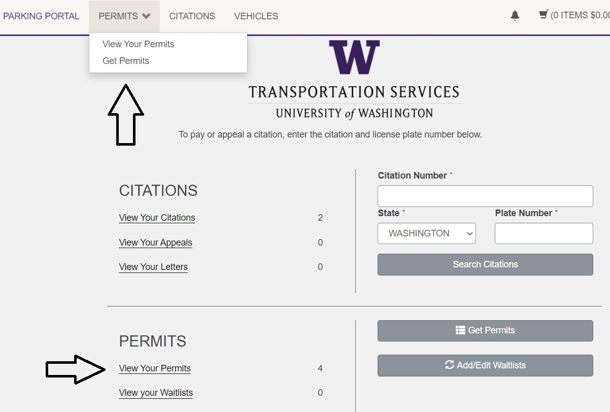 screenshot of View Your Permits button highlighted with arrow pointing to it in account dashboard and Permits tab in upper navigation expanded with arrow pointing to it